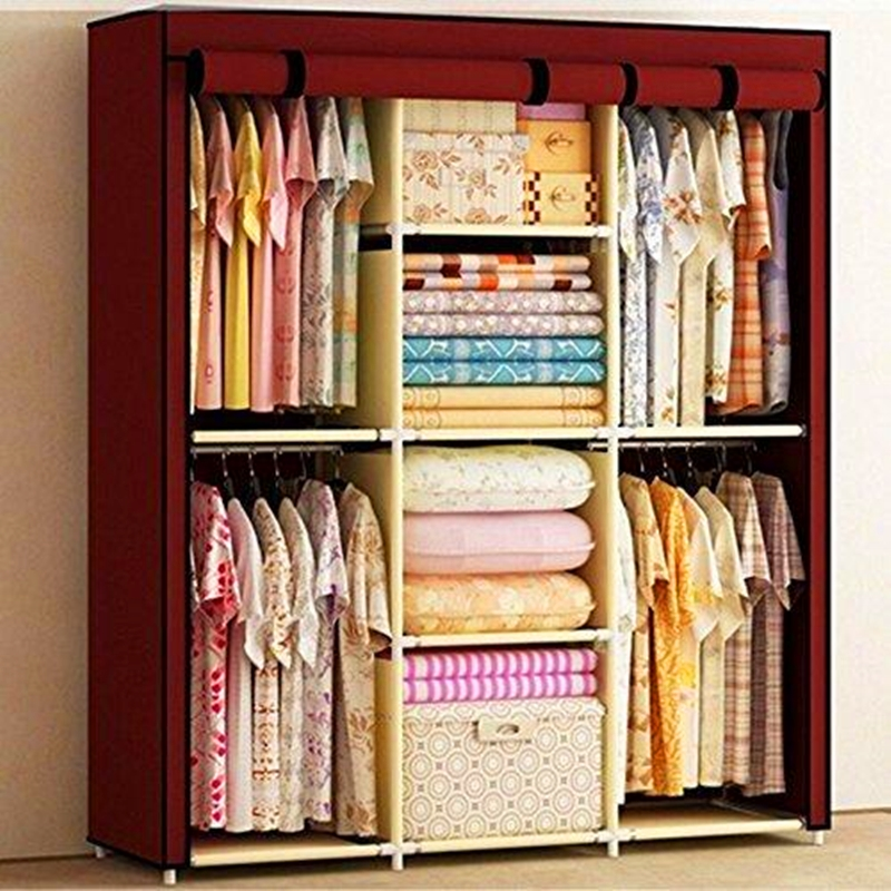 Large Space Storage Portable Double Wardrobe Clothes Cabinet Stable font b Closet b font Ss Steel