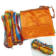 Bandeiras religiosas fontes budistas tibetanos impressão a cores oração bandeira artificial seda tibete lung ta banner escrituras jardim bandeiras