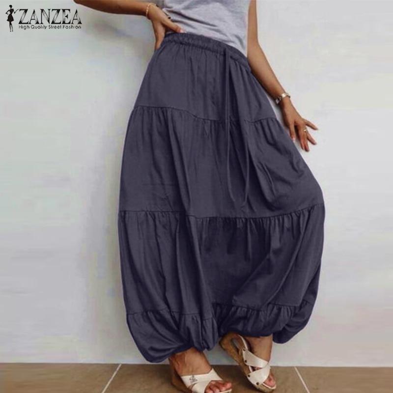 Elegant Ruffle Vestidos Women's Skirts ZANZEA 2019 Casual Elastic Waist Faldas Saia Female Drawstring Solid Skirt Plus Size 5XL
