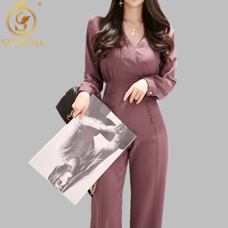 SMTHMA Office Ladies Double Breasted Women Jumpsuit Sexy V-neck Elegant  Jumpsuits Slim High Waist Long Playsuit 2019