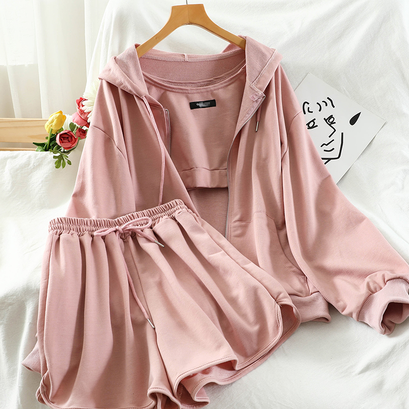 Sports Simple Short Vest Hooded Sweater Straight Short Shorts Casual Women's Three-piece Suit