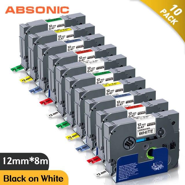 10PCS TZe 231 תואם עבור Brother p touch מדפסת תווית קלטת Tze 231 Tz 231 12mm שחור על לבן TZ צה 131 למינציה סרטים