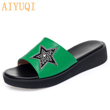 AIYUQI Women Slippers Genuine Leather 2020 Summer Shoes New Platform Large Size 41 42 Thick Bottom Green