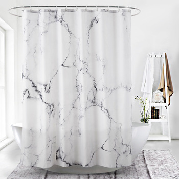 Marbling 3D Printing Shower Curtains Waterproof White Bathroom Curtain Simple Style Bathtub Insulation Bath Products Home Decor