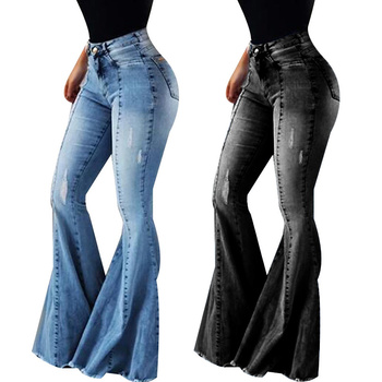 Women Skinny Jeans High Waist Ripped Flare Denim Pants Woman High Elastic Stretch Sexy Jeans Female Washes Trousers D30 high waist skinny flare jeans