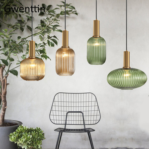 Image 1 - Modern Stained Glass Pendant Light Fixtures Led Gold Hanging Lamp for Living Room Bedroom Home Loft Industrial Decor Luminaire