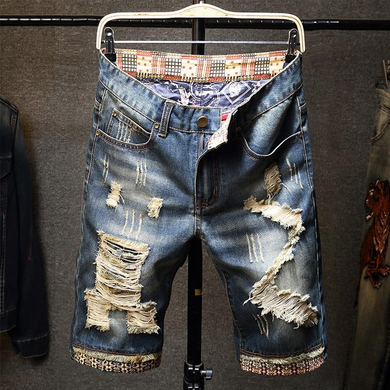 Ozhouzhan Plus-sized Menswear With Holes Denim Shorts Thin Retro Shorts Popular Brand Bermuda Shorts 5 Pants Men's