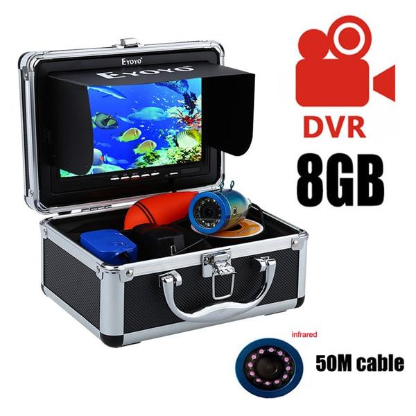 """Eyoyo 30м 1000TVL камера рыбоискатель подводная рыбалка видеокамера """" монитор солнцезащитный козырек инфракрасный светодиод - Цвет: 50M Infrared LED DVR"""