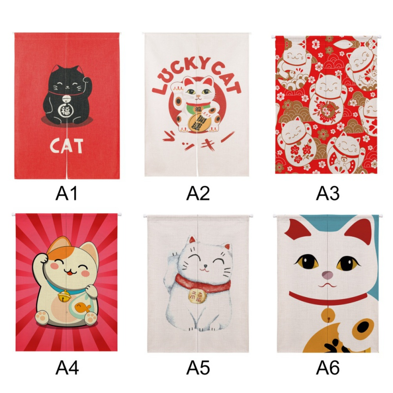 Lucky Cat Design Cotton And Linen Japanese Style  Doorway Curtain Hanging Tapestry For Home Decoration H1 .x X