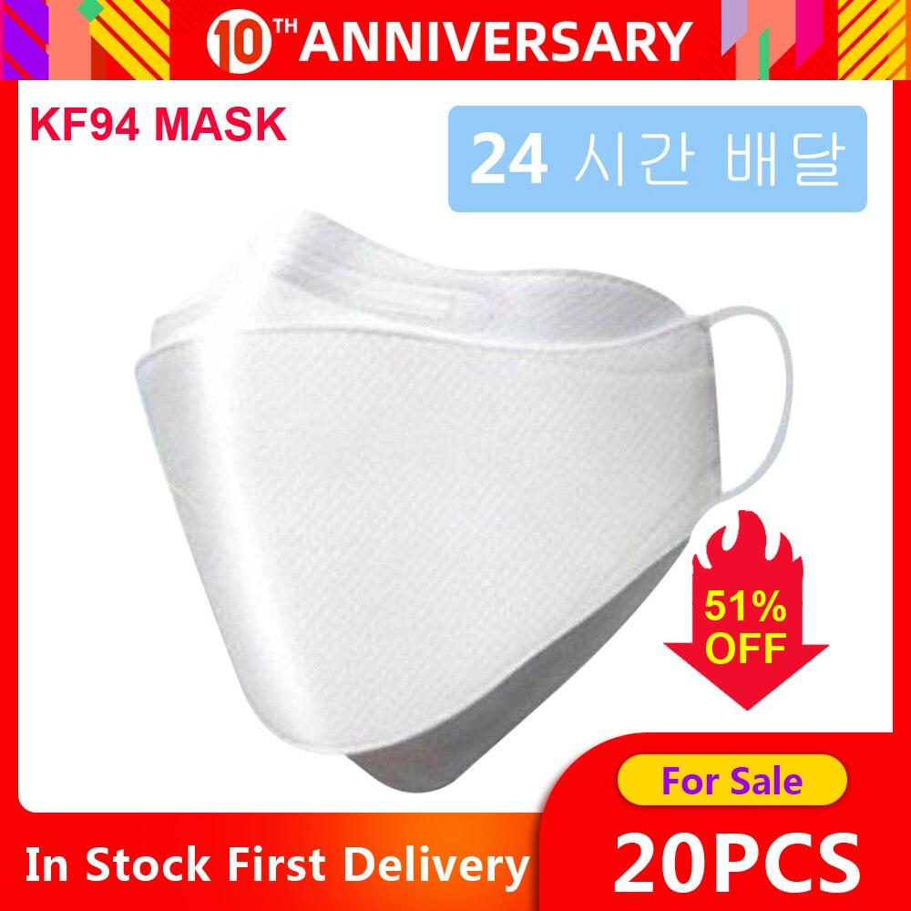 마스크 kf94 Mask 20pcs Face Gas Mask Filtration Face Masks  Breathable Dust Mask Protection against Droplet Dust Particles  PollutionMasks
