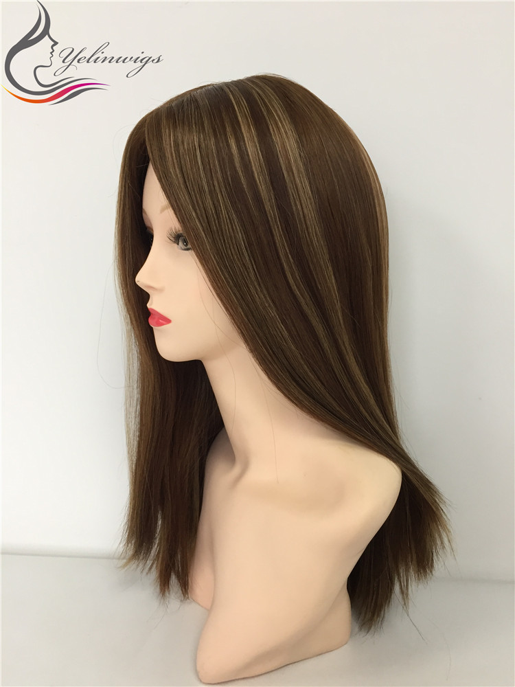 20 Inch 8 With 14 Highlight Color Small Layer European Hair Silk Top Wigs Customized Wigs Free Shipping