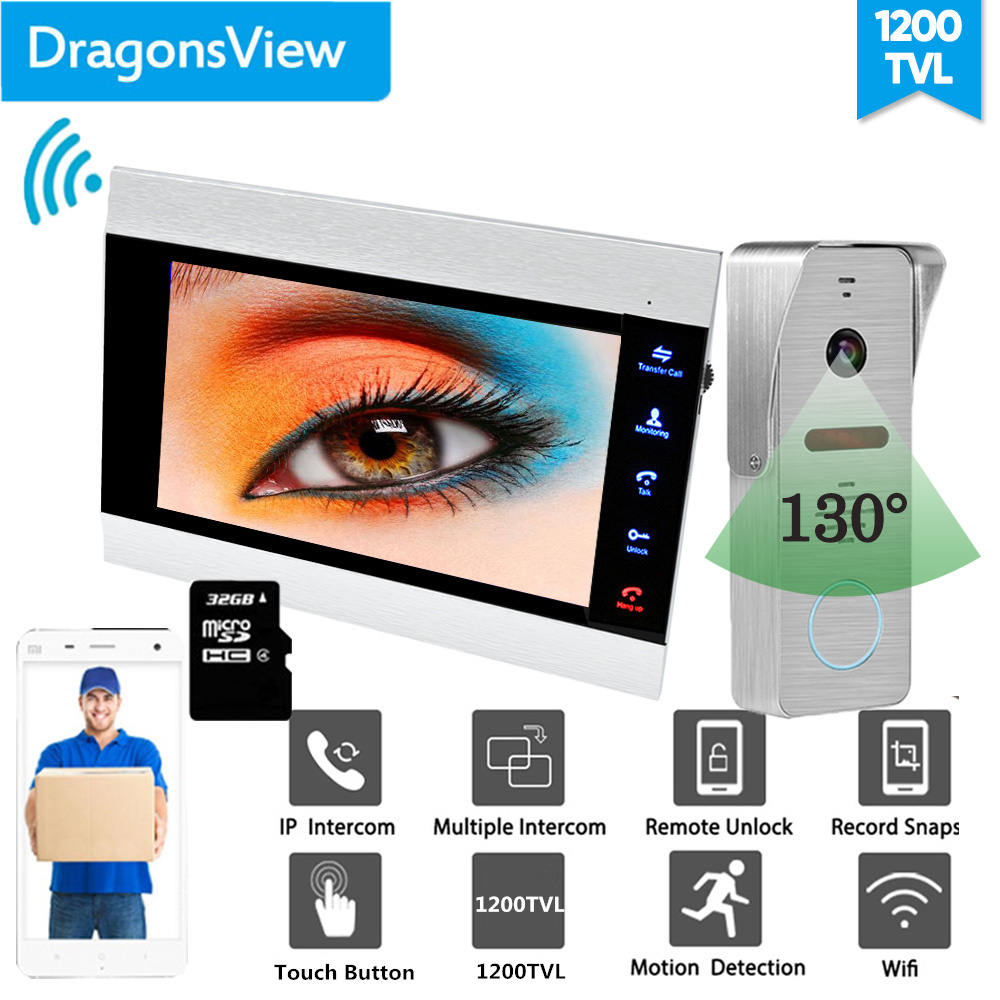 【Wide Angle】Dragonsview 7 Inch Video Door Phone Wireless Video Intercom Smart Wifi ISO Android 2.3mm Lens Waterproof Record