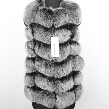 Real Fox Fur Coat Winter Women 70cm natural fur Vest Coats Short Natural Real Fur Coat real Fur Jacket cheap MAOMAOKONG Thick Warm Fur Thick (Winter) REGULAR Natural Color O-Neck Sleeveless zipper Solid Casual Sleeveless Vest
