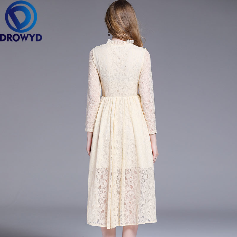 Pleated Vintage Lace Midi Dress for Women Autumn Plus Size Boho Casual Long Sleeve Apricot Dress Elegant Party Dresses Vestidos in Dresses from Women 39 s Clothing