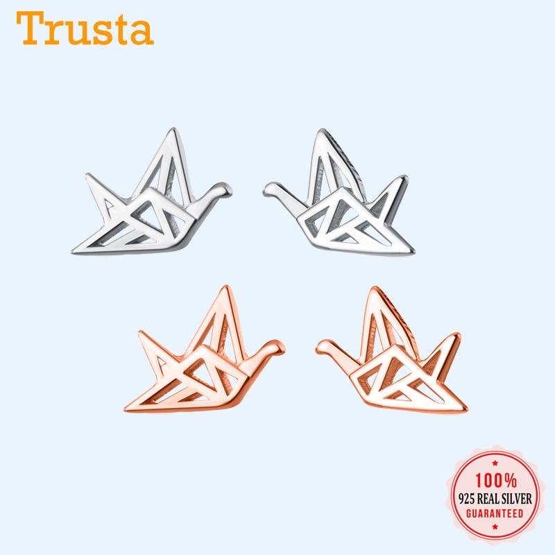 2020 New 925 Sterling Silver Stud Earring Rose Crane Stud Earrings Cute Birthday Gift For Girls Kids Lady  925 Wholesale DS2705