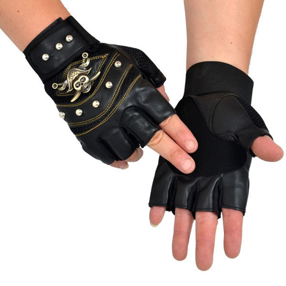 PU Leather Skull Punk Pirate Black Driving Motorcycle Biker Fingerless Gloves Mens Womens Gloves Gift For Xmas