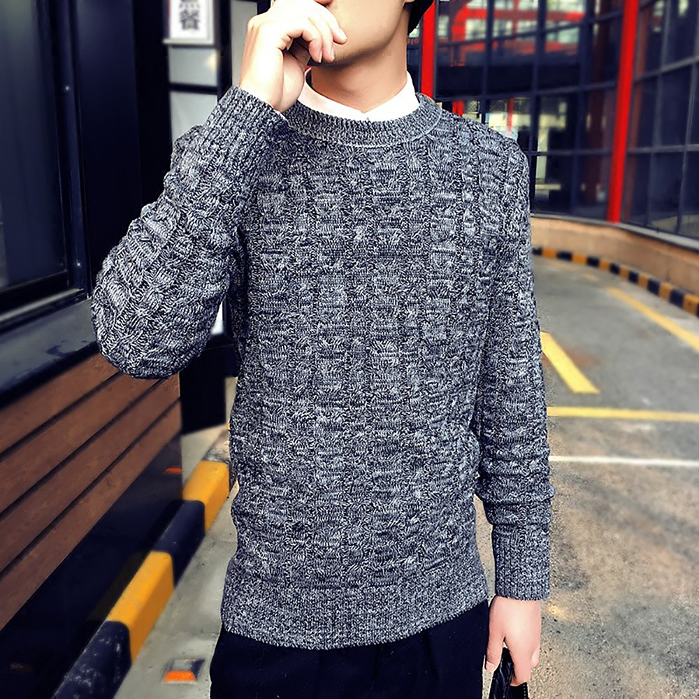 New Korea Grey Sweaters And Pullovers Men Long Sleeve Knitted Sweater High Quality Winter Pullovers Homme Warm Navy Coat 3xl