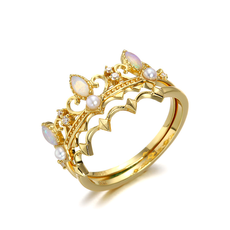 LAMOON 925 Sterling Silver Ring Set For Women Opal Ring Crown Retro Court Style 14k Gold Plated Gemstones Fine Jewelry LMRI139