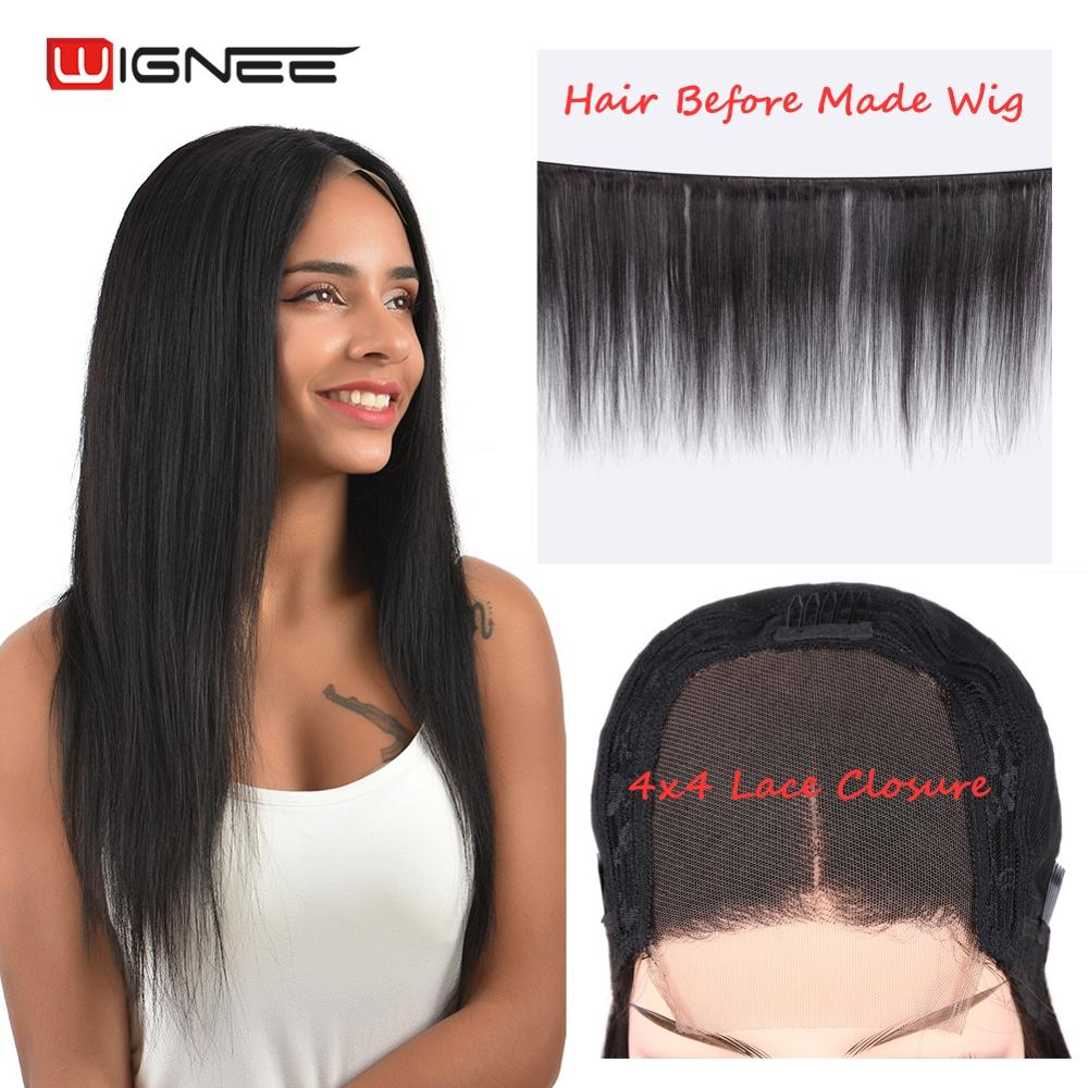 Wignee 4*4 Lace Closure Human Hair Wigs With Baby Hair For Black/White Women Remy Straight Hair Preplucked Glueless Human Wigs