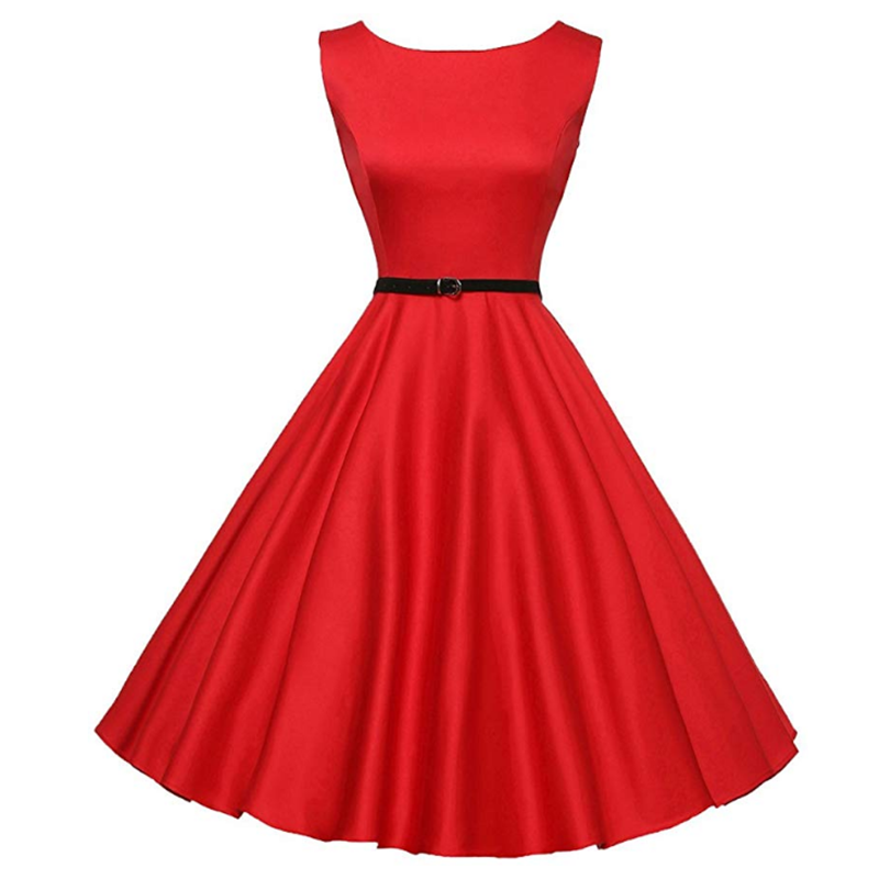 Women's Round Neck Sleeveless Retro Solid Color Dress 2019 Summer Women's 50's Retro Slim Simple Dress