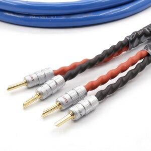 Image 2 - Çift LS 180 OFC gümüş kaplama ses hoparlör kablosu hoparlör CMC ile muz konektörü hifi hoparlör kablosu