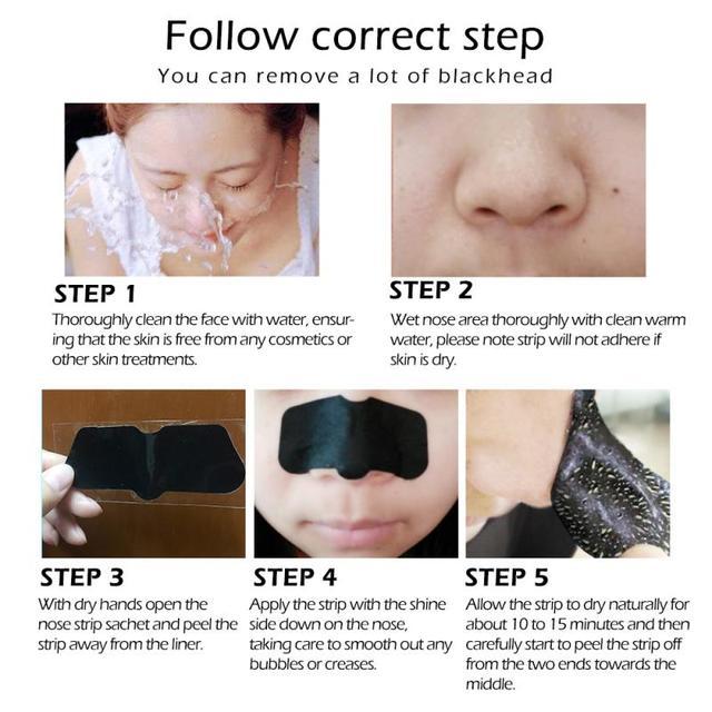 1 Bag Blackhead Nose Mask Face Nose Deep Cleaning Nasal Blackhead Acne Remover Purification Charcoal Mud Membrane Black Mask 3