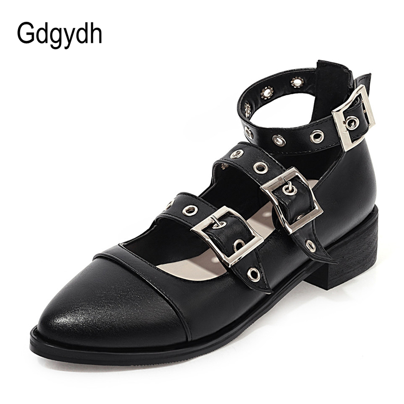 Gdgydh Punk Style Black Leather Gothic Shoes Women Adult Mary Janes Large Size Square Heel Pumps Female Footwear Buckle Strap