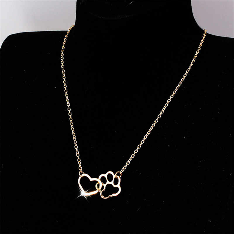 SexeMara Hollow Pet Paw Footprint Necklaces Cute Animal Dog Cat Love Heart Pendant Necklace For Women Girls Jewelry Necklace