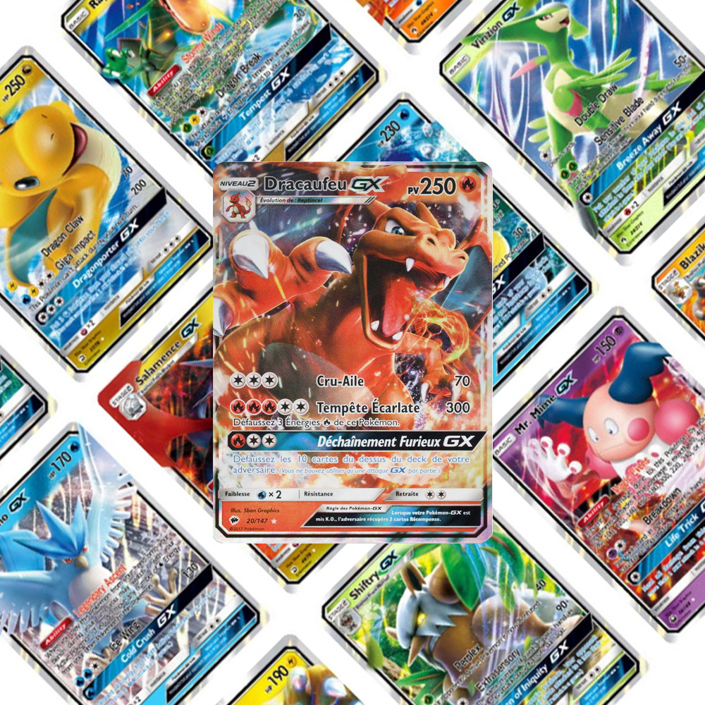 TOMY No Repeat 200 Pcs POKEMON GX For Carte Cards GX Shining Game Battle Carte Card Game For Children Toy