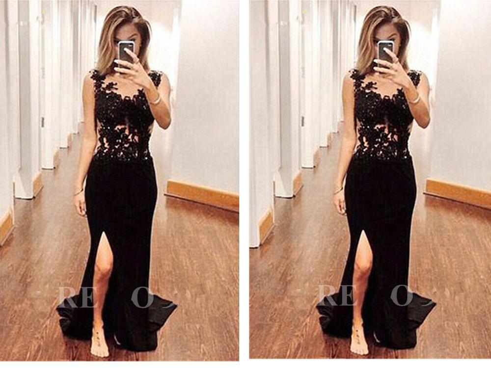 Illusion Prom Gown 2018 Spaghetti Strap Mermaid Floor-length Simple Mermaid Chiffon Black Appliques Mother Of The Bride Dresses