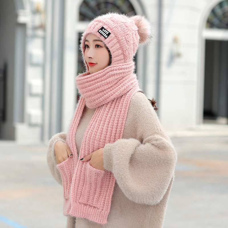 HT2672 New Fashion Hat Scarf Gloves Set Thick Warm Knitted Hat Scarf Ladies Solid Winter Set Female Beanies Winter Accessories