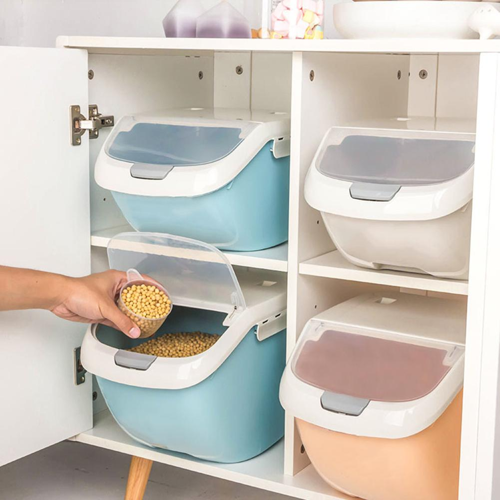 Kitchen Rice Storage Box Plastic Large Capacity Rice <font><b>Container</b></font> Box Grain Flour Dispenser Moisture Proof Food <font><b>Container</b></font> Boxes image