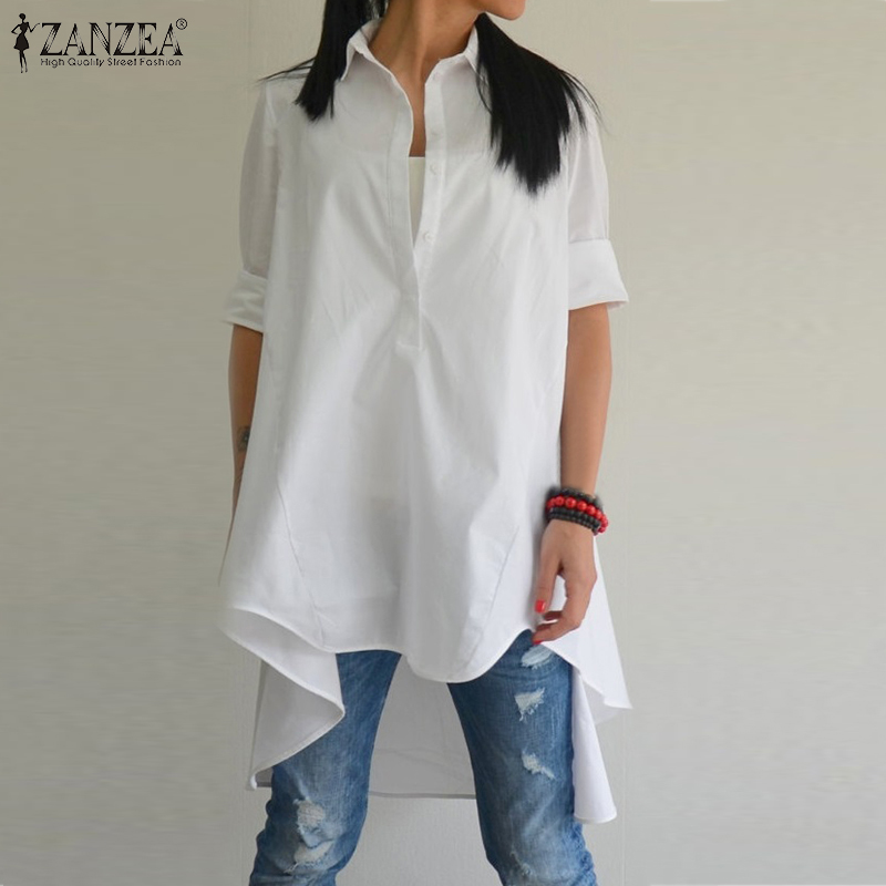 ZANZEA Women Blouse Oversized Casual Cotton Shirt 2019 Autumn Asymmetrical Long Sleeve Work Office Tunic Tops Chemiser Mujer 5XL
