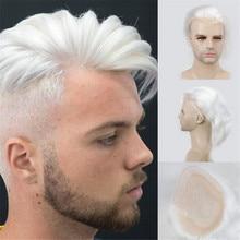 """Cheveux humains hommes postiche toupet français dentelle remplacement pour hommes perruque peau mince européenne Remy cheveux 613 couleur Blonde 10 """"x8"""" eseeperruque"""