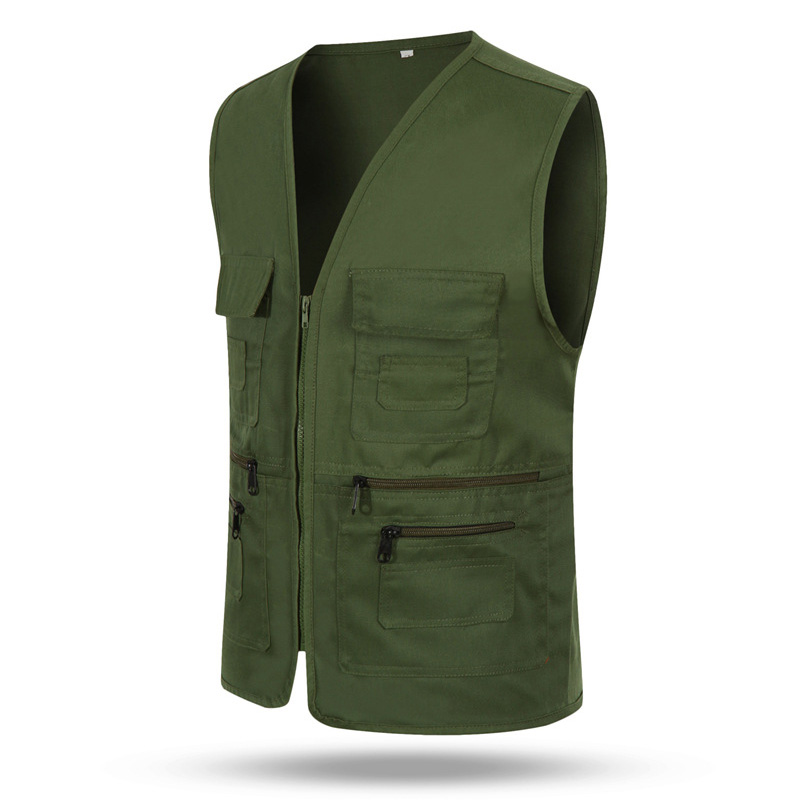 Tactical Vest Men's Jacket Sleeveless Cotton Casual Zipper Waistcoat Male Outerwear Slim Fit Male Jacket Multi-Pockets Vests