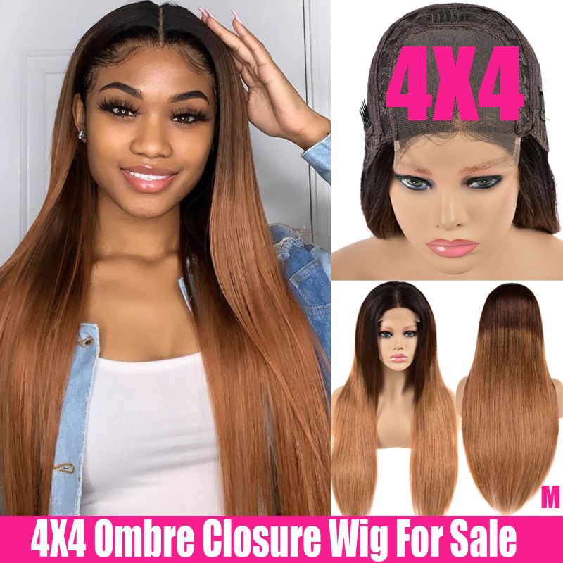 Ombre Straight Human Hair Closure Wig 4x4 Lace Closure Wig Remy Brazilian Hair Wigs 150% Swiss Ombre Human Hair Wig For Women