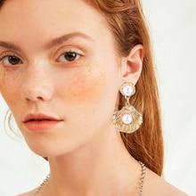 Fashion Shell Pearl Earrings For Women Statement 2019 Bohemian Gold Silver Pendant Metal Drop Earring Lady Wedding Party Jewelry цена