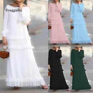 Женское мусульманское длинное платье, туника абайский Дубайский кафтан, Макси-Платье, Турецкая кафтан, мусульманская одежда, Рамадан, арабс...