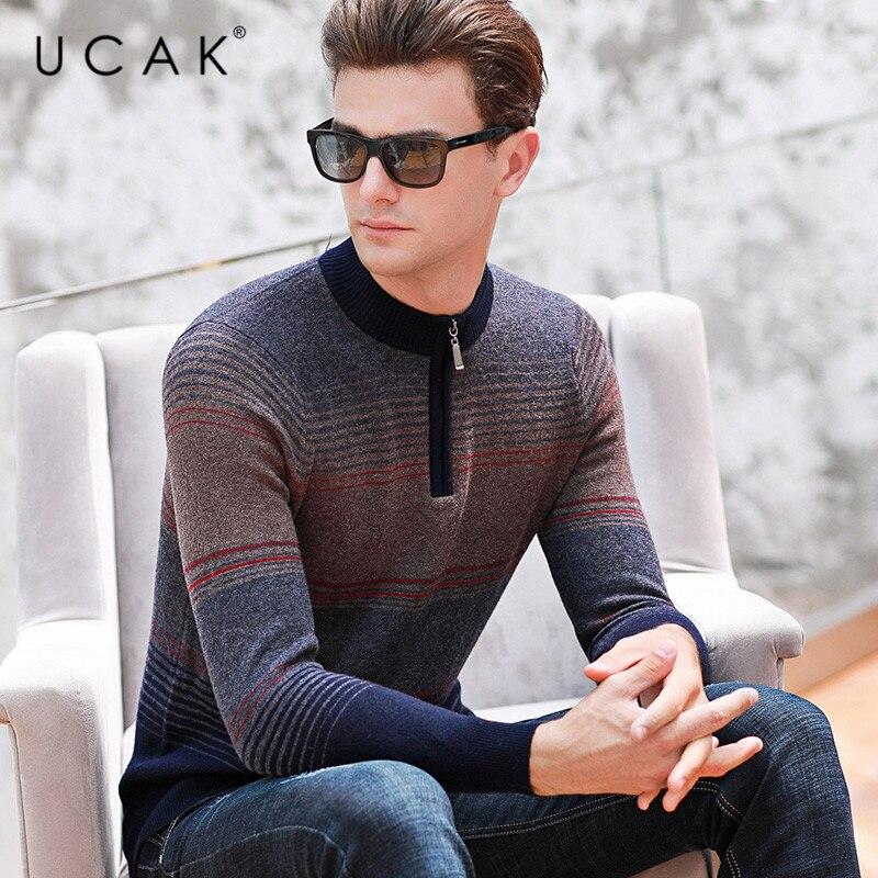 UCAK Brand Sweater Male New Arrival Autumn Winter Fashion Trend Pure Merino Wool Pull Homme Casual Streetwear Warm Sweater U3130