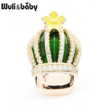 Wuli&baby Czech Rhinestone Cactus Collar Pins Women Green Enamel Flower New Year Gifts