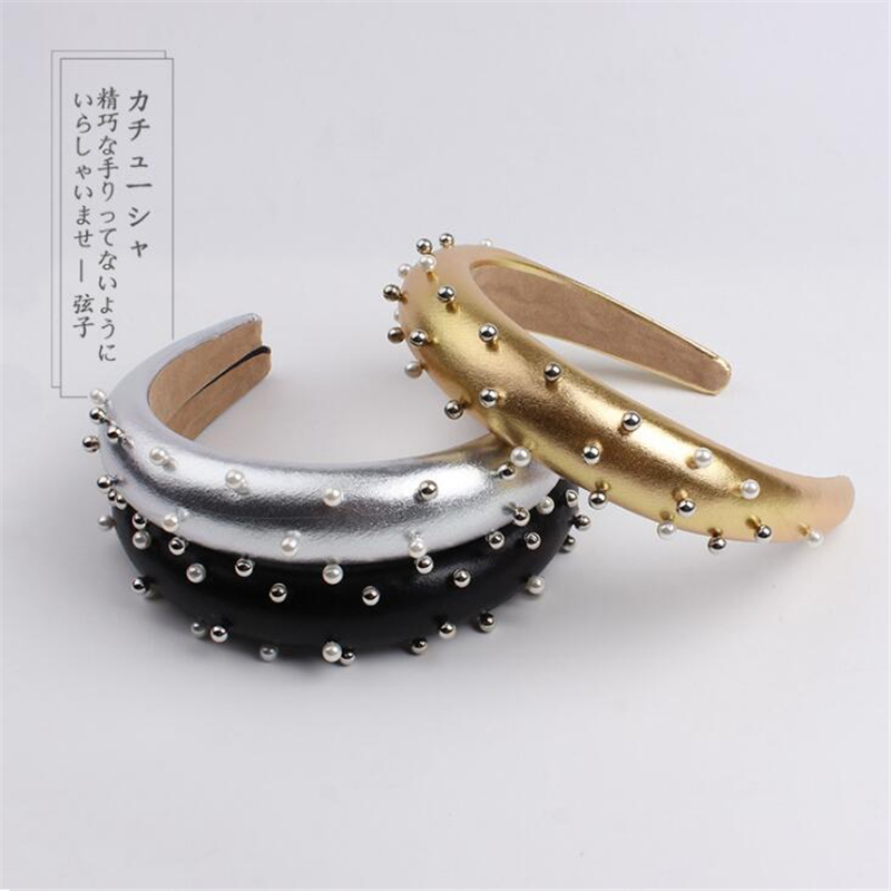 New Korean Style Fahsion Women Girls Pearls Bezel Sliver Gold Hairband Headband Festival Party Shining Hair Accessories Headwear