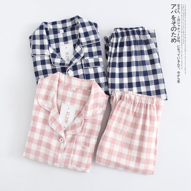 2021 Spring Fall Autumn Winter Clothing Sets For Boys Girls 2-Piece Coat Style Cotton Pajama Plaid Homewear Loungewear