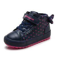 Kids Boots Girls Boots 2019 Winter Warm Plush PU Leather Baby Girl Shoes Fashion Polka Dot Bow Princess Children Casual Sneakers