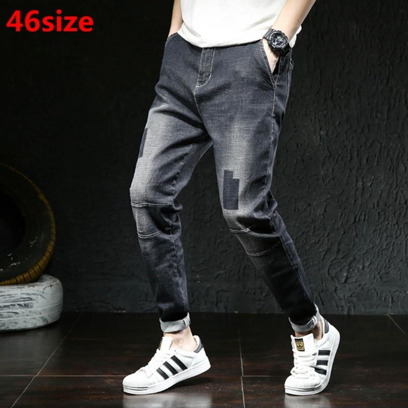 Autumn High Elastic Harlan Jeans Big Size Male Loose Legs Small Feet Plus Size  XL Fat Elastic Pants Tide Oversized