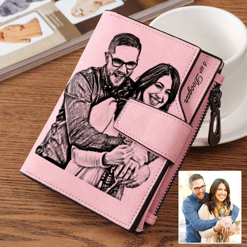 New Personalized Photo Wallet for Women PU Leather Short Tri-fold Engraved Picture Wallets Purse Gift for Her Girl Wife Birthday