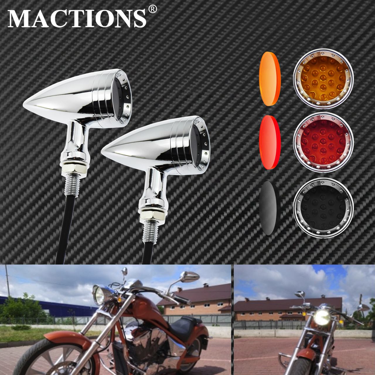Motorcycle LED Turn Signal Bullet Blinker Orange & Red Indicator Lights Gray/Orange/Red Lens 10mm Vintage Chrome For Harley    -