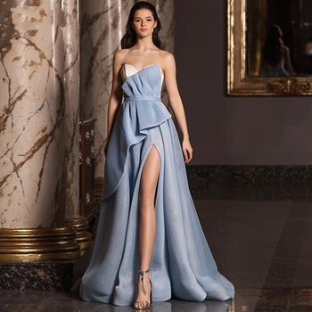 Eightree Shiny Sweetheart Evening Dress A Line Long Slit Prom Dresses Sleeveless Backless Elegant Party Gowns Plus Size