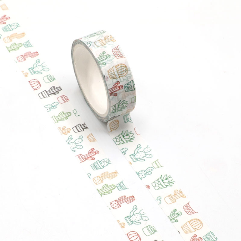 NEW 1pc Cute Cactus Sketch Printing Washi Tape Kawaii Scrapbooking Tool Adhesive Masking Tape Photo Album Diy Decorative Tape