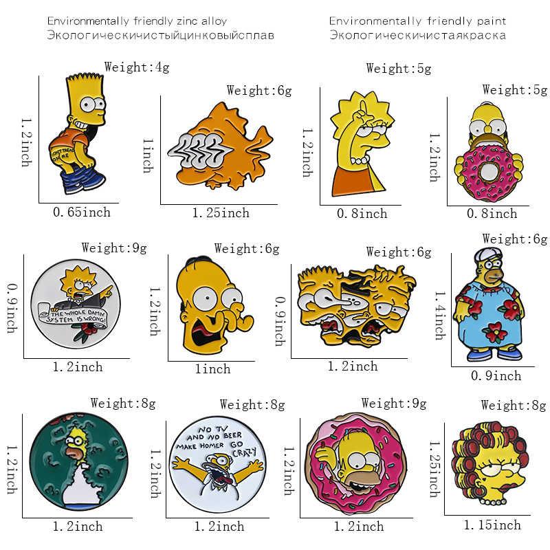 Simoom-Anak Keluarga Pin Bros Simpsons Mr Luka Bakar Bart Simpson Marge Simpson Kerah Bros Kartun Perhiasan untuk Anak teman Hadiah