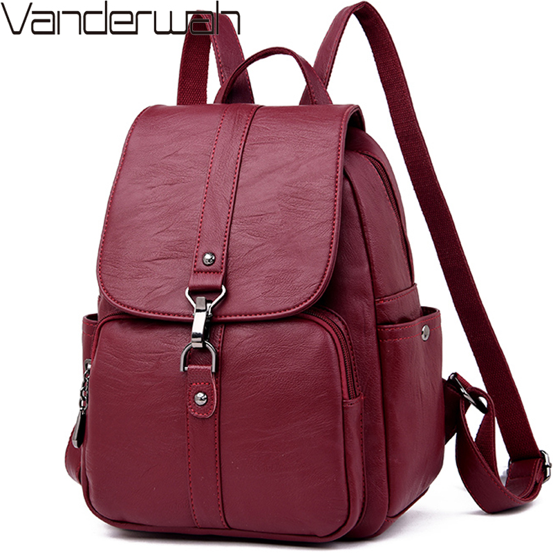 Classic Women Backpack High Quality Youth Leather Backpack For Teenage Girls Female School Bag Bagpack Mochila Sac A Dos Femme